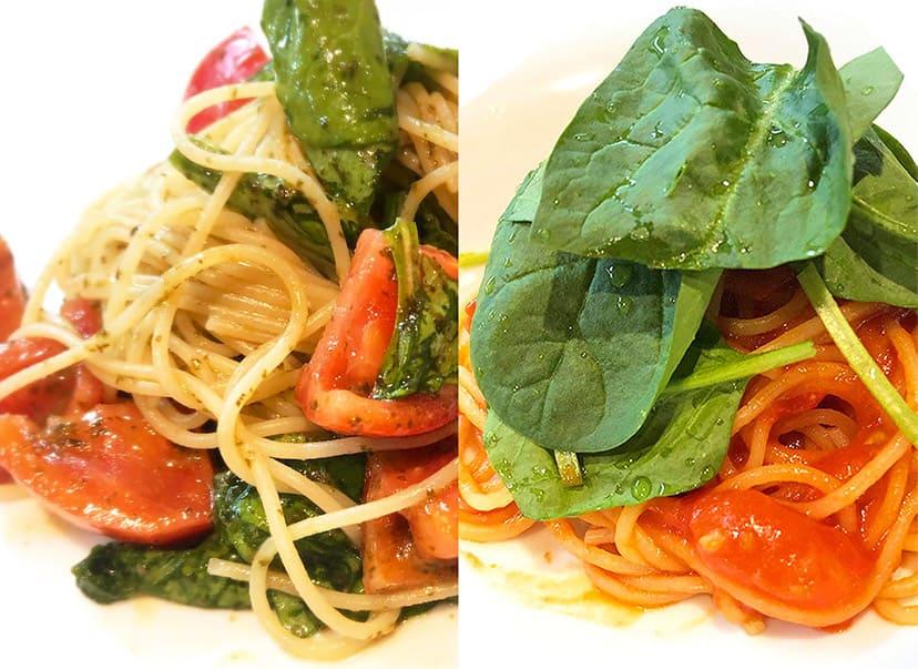 フレッシュトマトの冷製ジェノベーゼ・サラダほうれん草のトマトパスタ